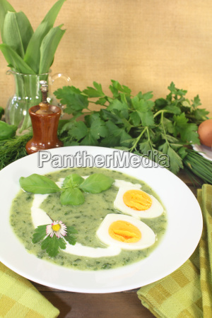 fresh herb soup with eggs