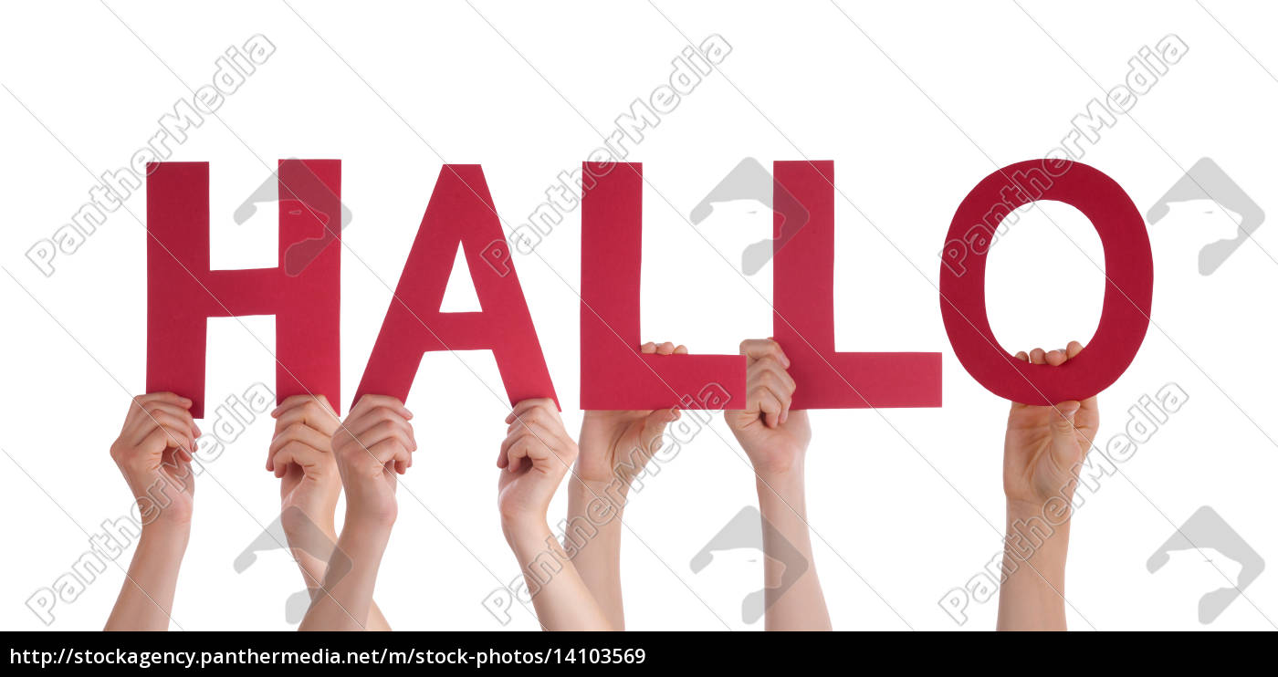 people, holding, straight, word, hallo, means - 14103569
