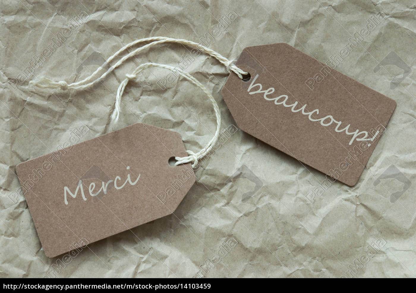 two, labels, merci, beau, means, thank - 14103459