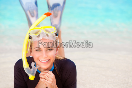 diver girl on the beach