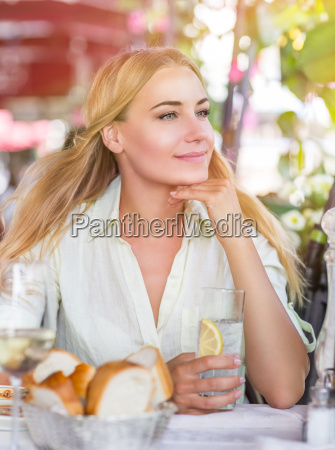 cute female drink water