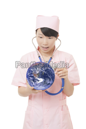 chinese nurse checking the health of