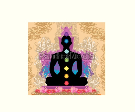yoga lotus pose padmasana with chakra