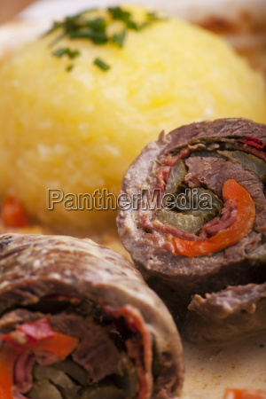 bavarian meat roulade with dumpling