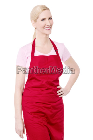 casual pose of female chef