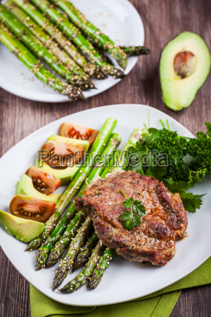 glazed green asparagus with grilled pork