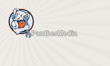 business card elephant mechanic spanner mascot