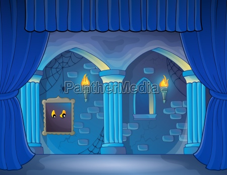 stage with haunted interior theme