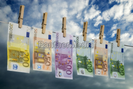 euro notes on the clothesline