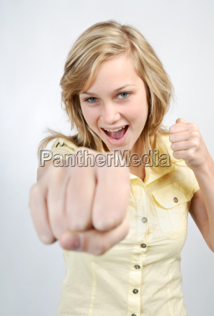 young woman beating