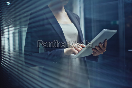 woman with touchpad
