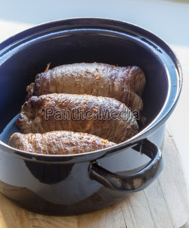 roulades of beef in the cooking