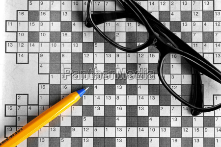 top view of blank crossword puzzle