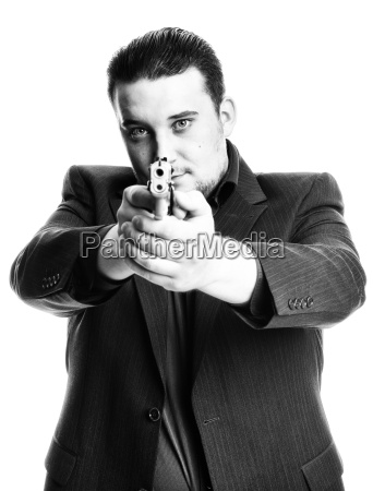 agent aiming with gun in black