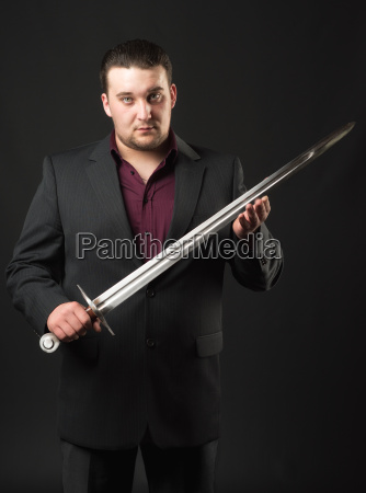 gangster boss with sword