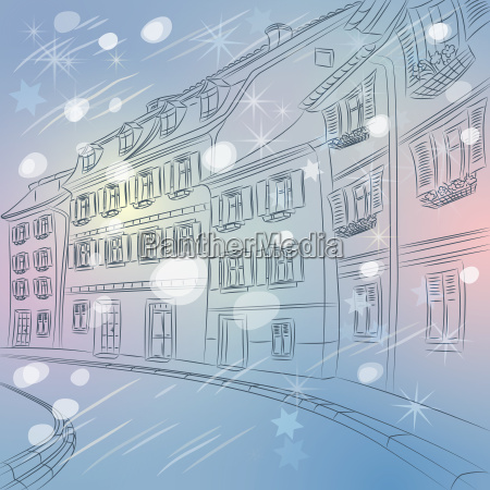 vector christmas winter cityscape of old