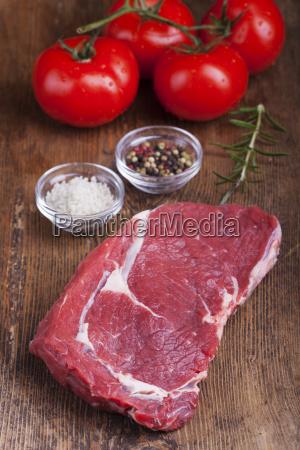 raw juicy beef steak