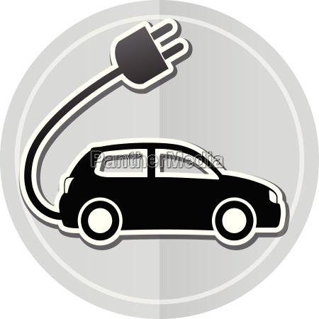 electric car sticker icon