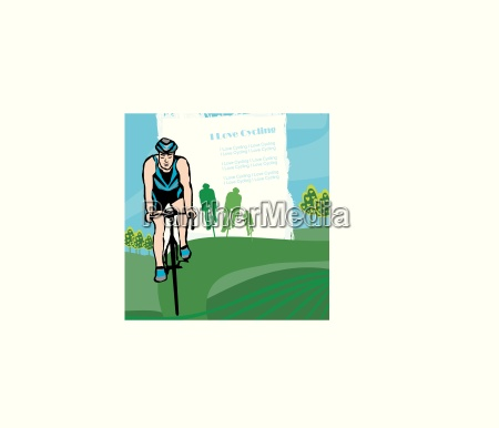 i love cycling banner abstract