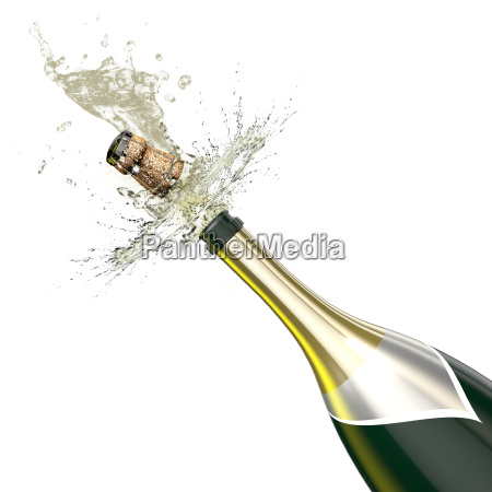 opened bottle with foaming champagne close