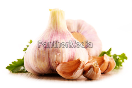 composition with bulbs of garlic isolated