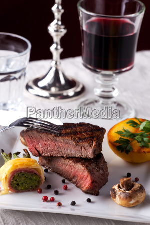 steak with grilled potato on a