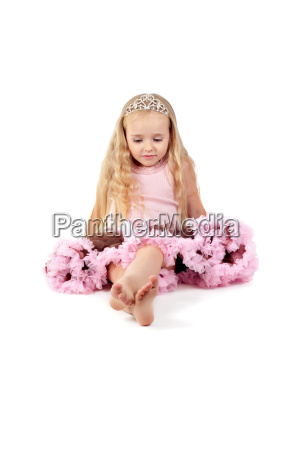 happy little girl in pink tutu
