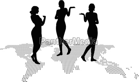 woman silhouette with hand gesture presenting