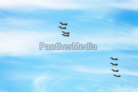 flight of military battleplane aircrafts in