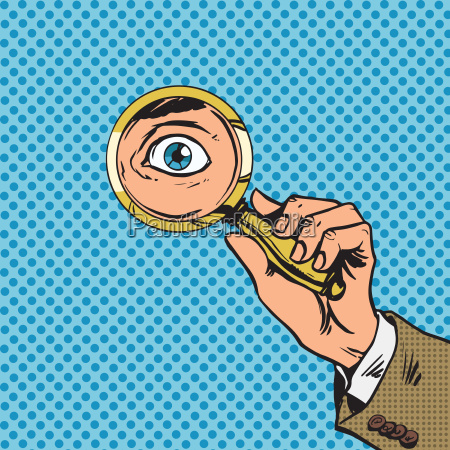 look through a magnifying glass searching