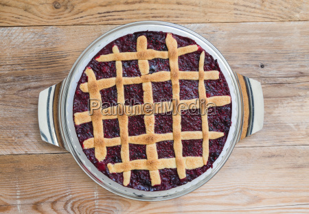 grid cake rustic with berries on