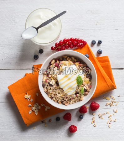 muesli with yogurt and fruit on