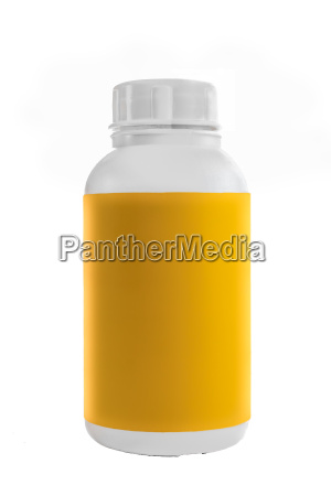 white plastic container with yellow label