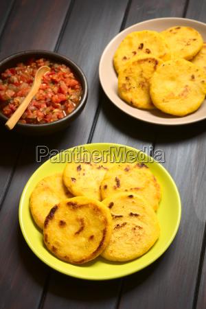 colombian arepa with hogao sauce