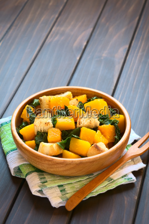 pumpkin and chard salad with croutons