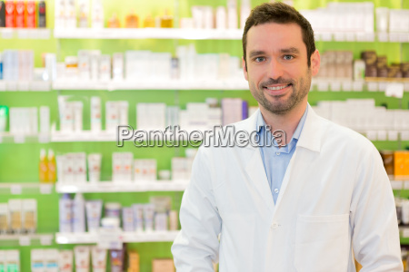portrait of an attractive pharmacist at