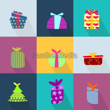 icons set with brightly colored gift