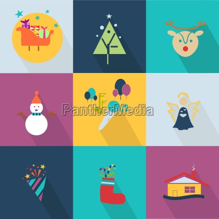 christmas icons set with objects typical