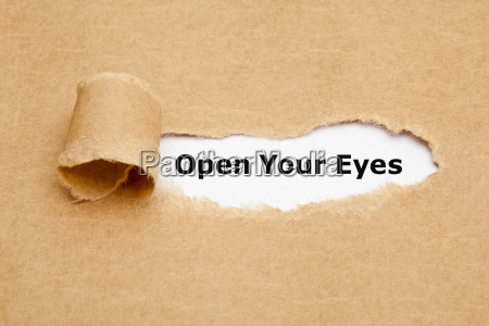 open your eyes torn paper