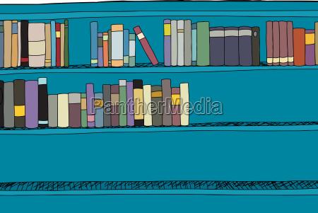 half full blue shelf