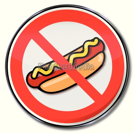 prohibition sign for hotdogs with sausage