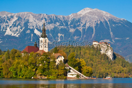 panorama of bled in autumn