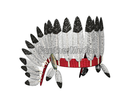 isolated feather headdress of the chieftain