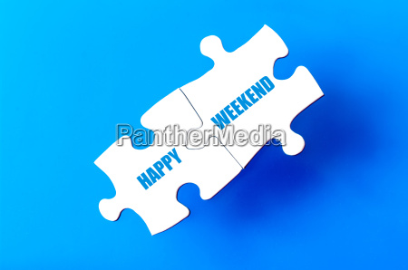 connected puzzle pieces with text happy