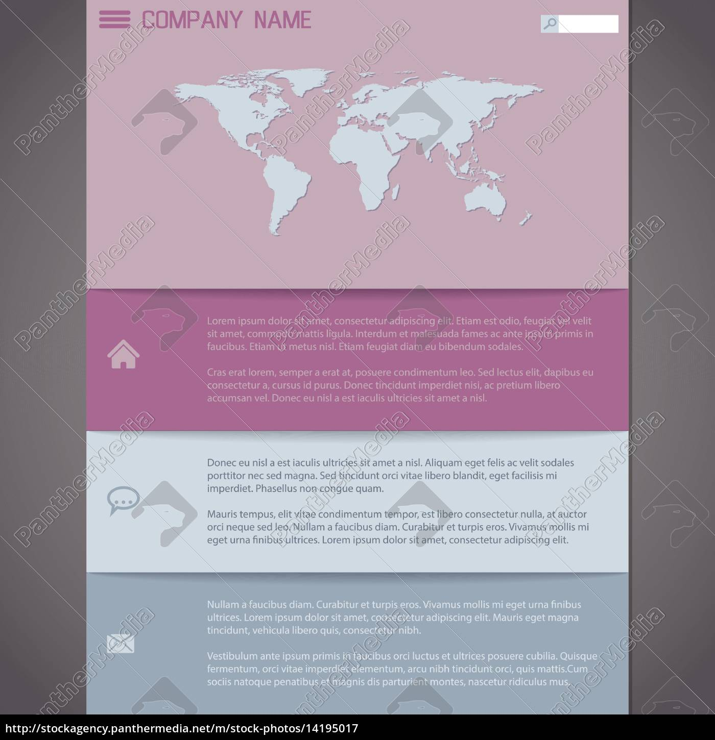 royalty free vector 14195017 - Website template design in pastel colors