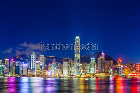 hong kong city lit up at