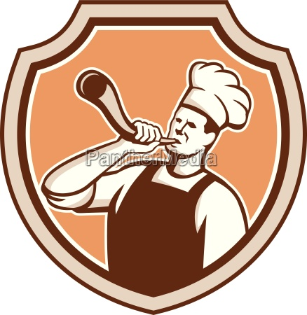 chef cook blowing bullhorn shield retro