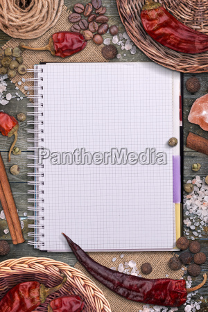 spices and recipe book