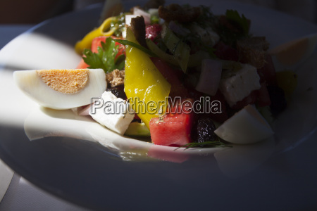 close up of a salad with