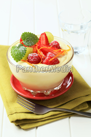 bowl of creamy pudding topped with